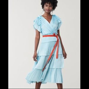 Diane Von Furstenberg ice blue pleated midi dress